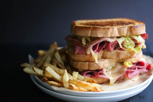corned beef melt with caramelized cabbage www.climbinggriermountain.com I