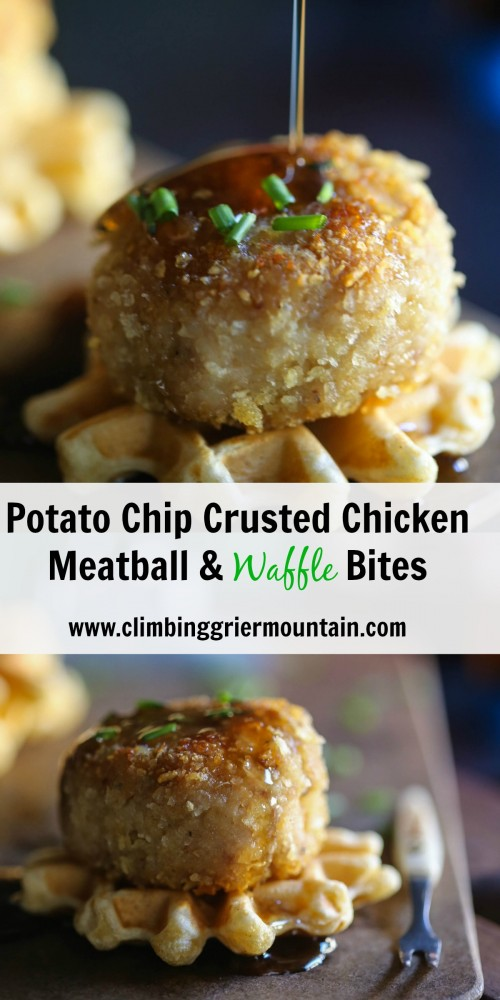 potato chip crusted chicken meatball & waffle bites www.climbinggriermountain.com