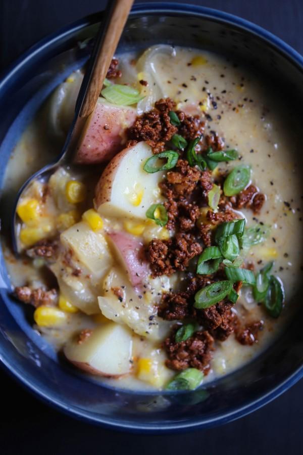 Easy Chorizo Corn Chowder www.climbinggriermountain.com II