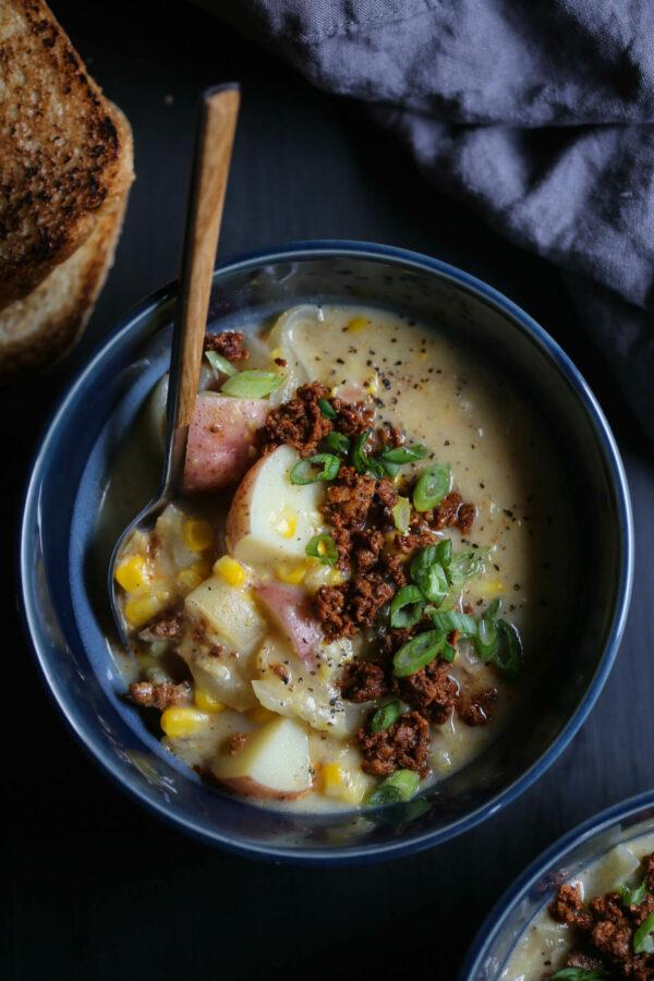 Easy Chorizo Corn Chowder www.climbinggriermountain.com