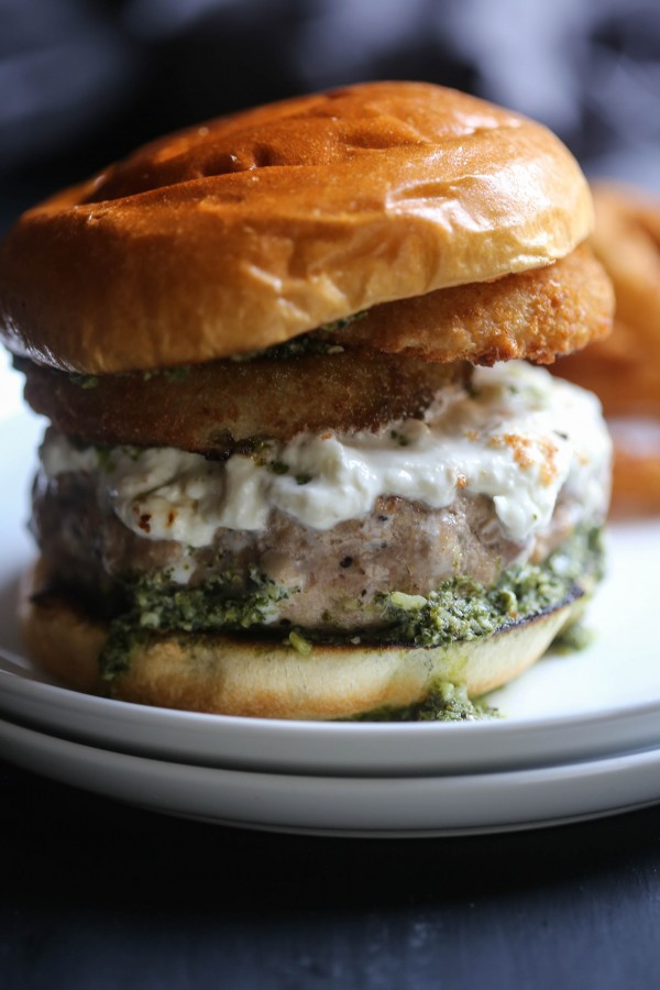 Turkey Burrata Burger with Pistachio Basil Pesto www.climbinggriermountain.com II