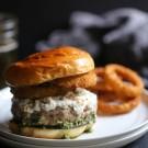Turkey Burrata Burger with Pistachio Basil Pesto www.climbinggriermountain.com