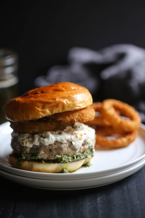 Turkey Burrata Burger with Pistachio Basil Pesto www.climbinggriermountain.com
