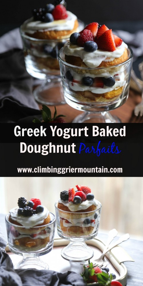 greek yogurt baked doughnut parfaits www.climbinggriermountain.com