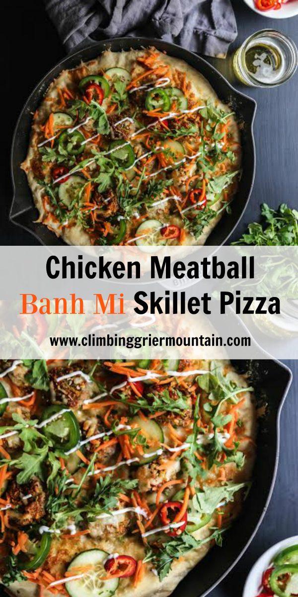 Chicken Meatball Banh Mi Skillet Pizza