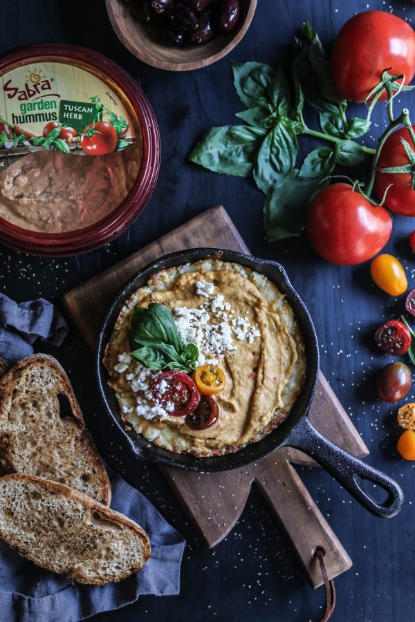Four Cheese Greek Pizza Dip with Tuscan Herb Hummus www.climbinggriermountain.com II