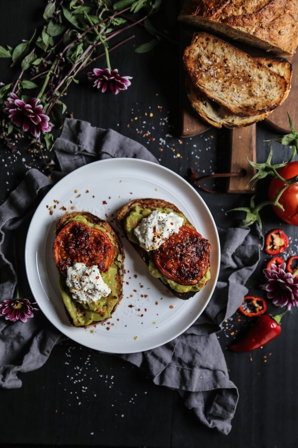 Easy Guacamole Toast with Thai Roasted Tomatoes www.climbinggriermountain.com
