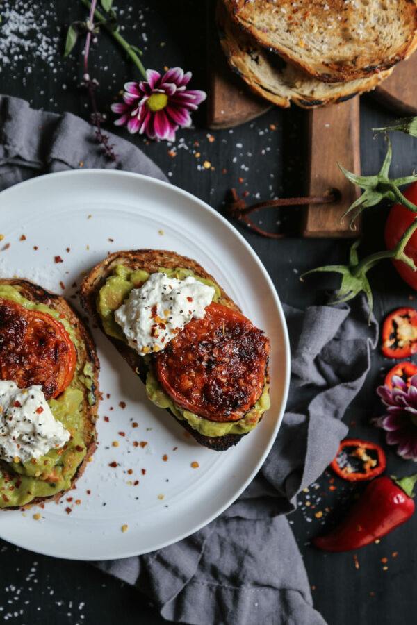 Easy Guacamole Toast with Thai Roasted Tomatoes www.climbinggriermoutain.com I