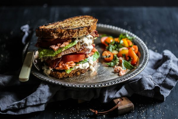 Sesame Roasted Salmon BLT with Kimchi Yogurt Dressing – Climbing ...