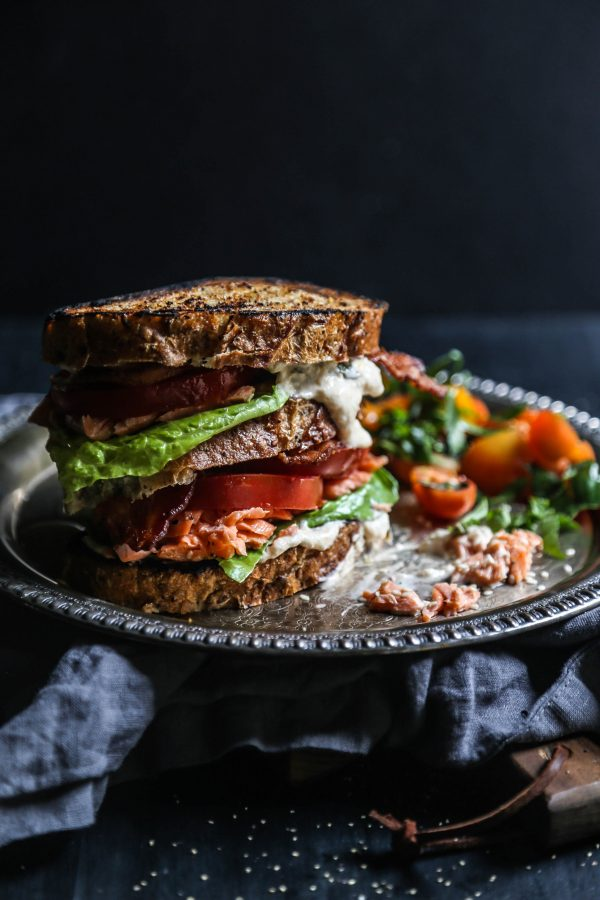 Sesame Roasted Salmon BLT with Kimchi Yogurt Dressing www.climbinggriermountain.com II