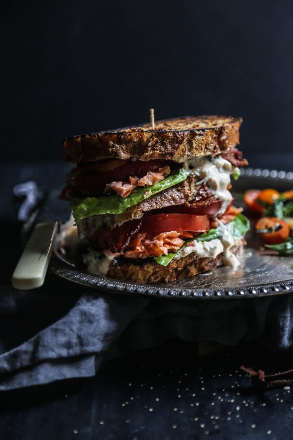 Sesame Roasted Salmon BLT with Kimchi Yogurt Dressing www.climbinggriermountain.com