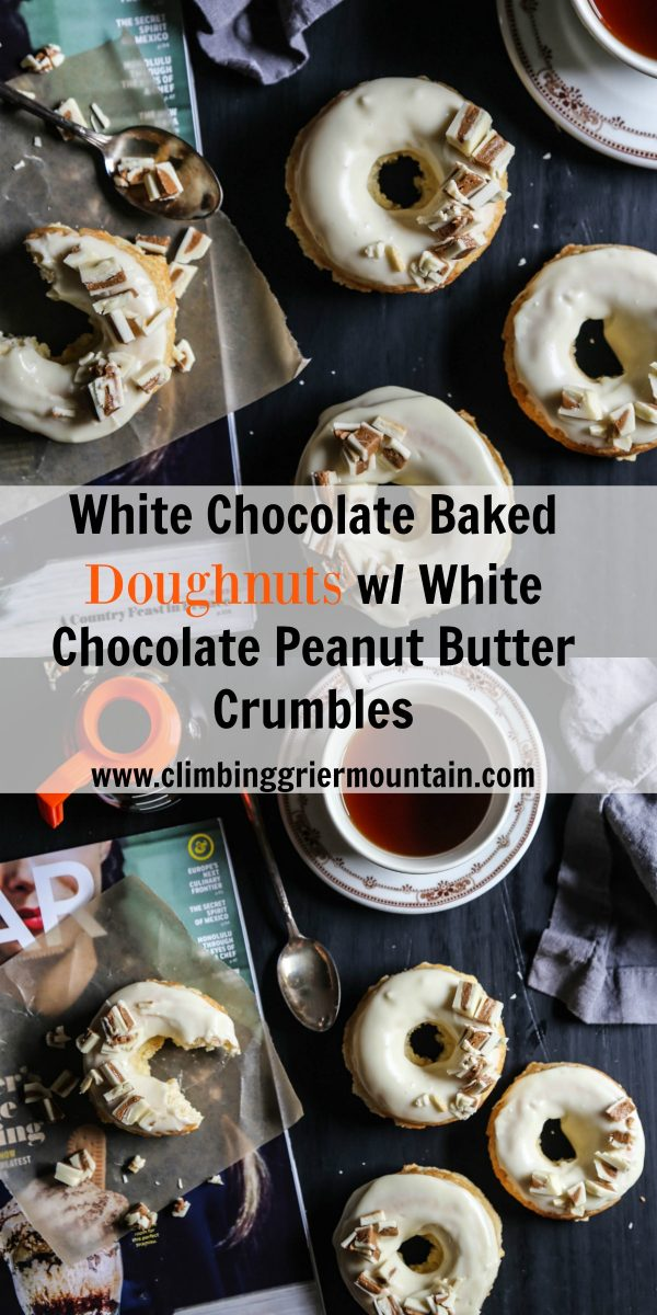 White Chocolate Baked Doughnuts with White Chocolate Peanut Butter Crumbles