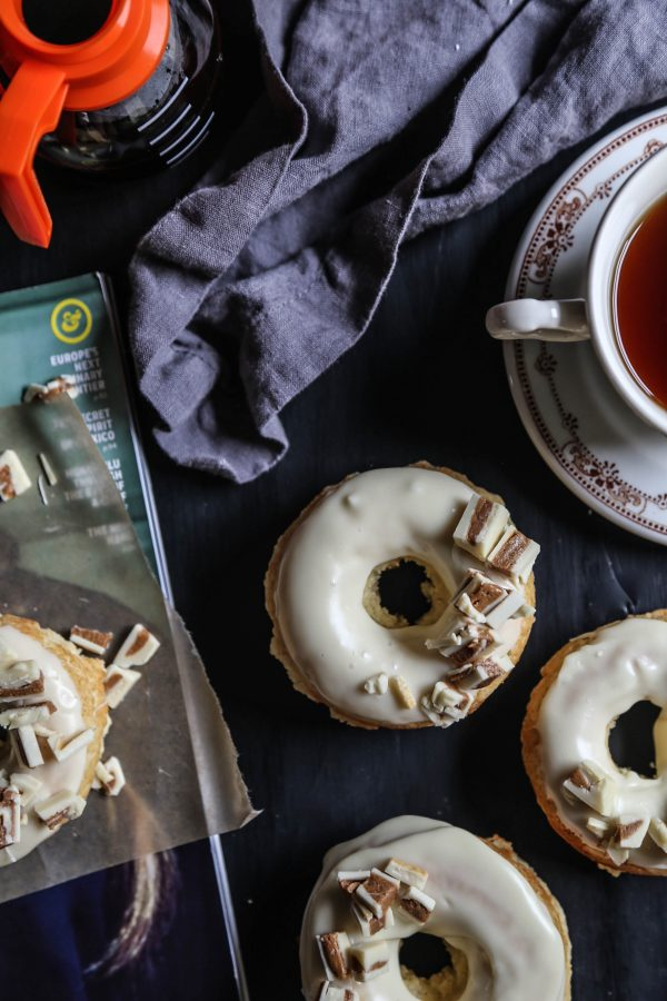 White Chocolate Baked Doughnuts with White Chocolate Peanut Butter Crumbles II