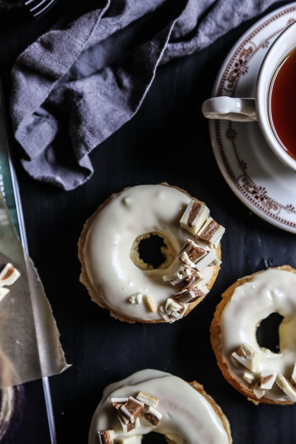 White Chocolate Baked Doughnuts with White Chocolate Peanut Butter Crumbles III
