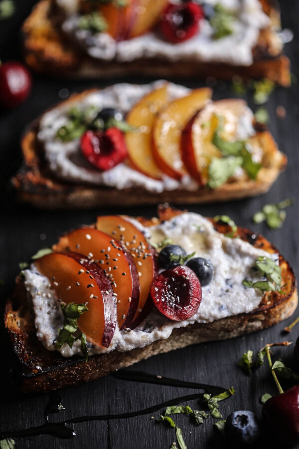 Cherry & Plum Toast with Blueberry Whipped Ricotta www.climbinggriermountain.com II