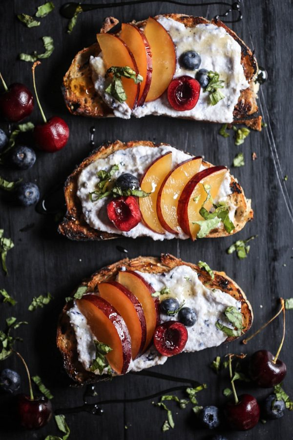Cherry & Plum Toast with Blueberry Whipped Ricotta www.climbinggriermountain.com
