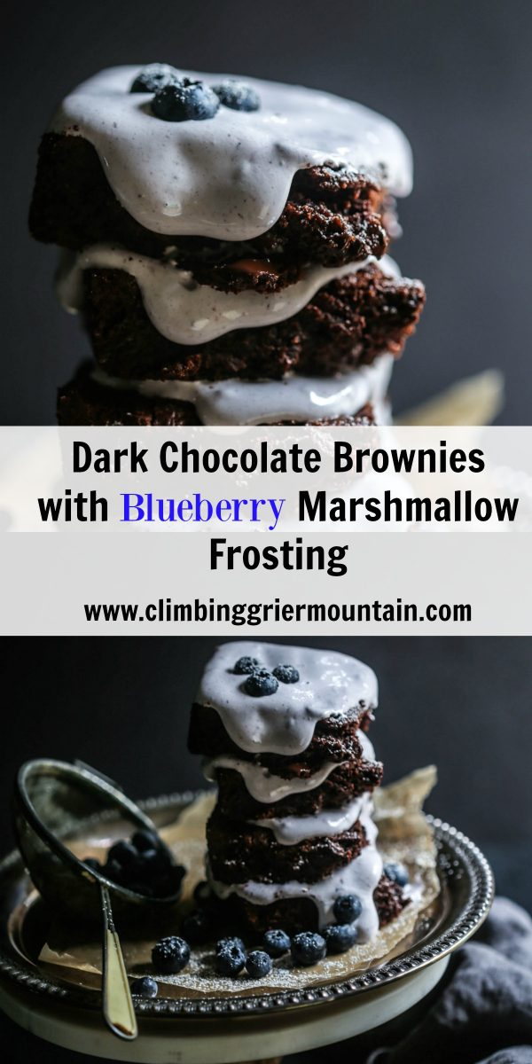 Dark Chocolate Brownies with Blueberry Marshmallow Frosting
