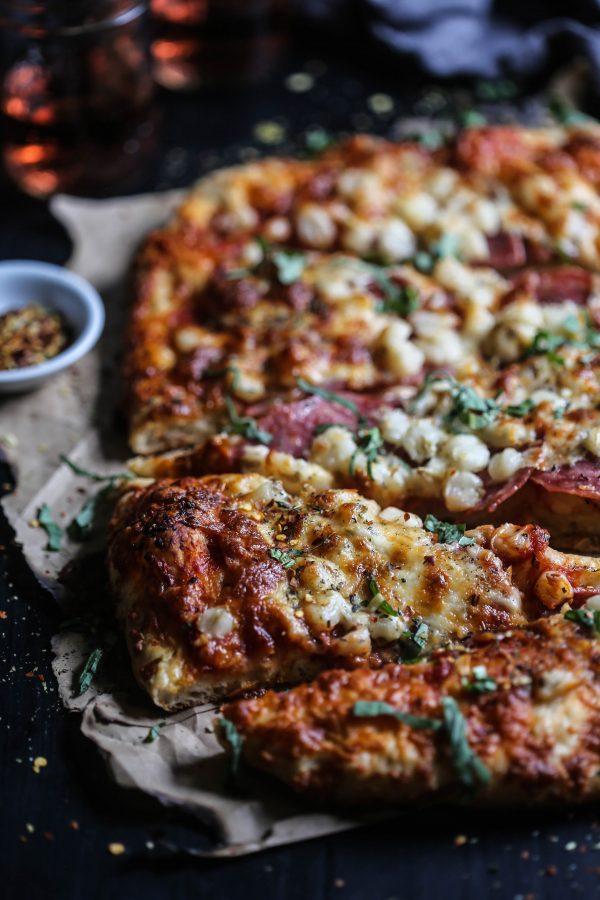 Salami, Hominy, & Smoked Mozzarella Pizza www.climbinggriermountain.com I