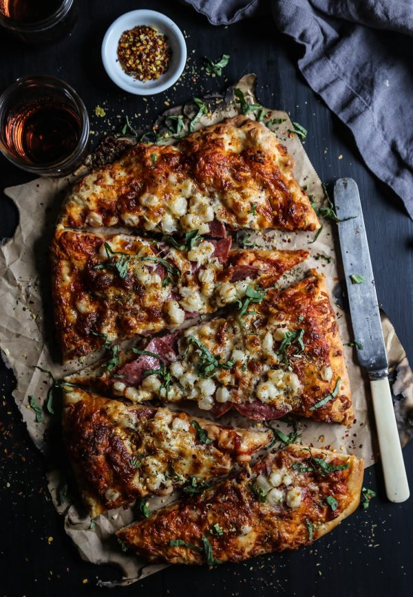 Salami, Hominy, & Smoked Mozzarella Pizza www.climbinggriermountain.com