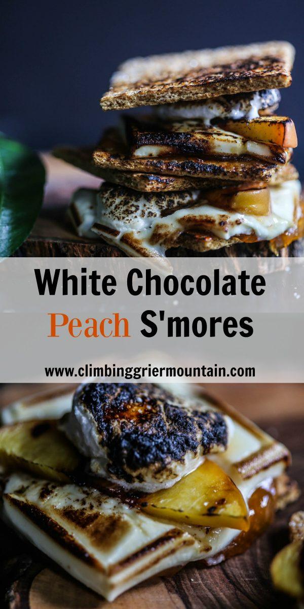 white chocolate peach s'mores