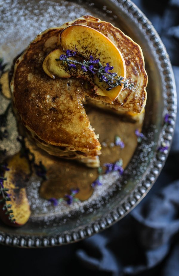 peach-bacon-pancakes-with-lavender-butter-syrup-www-climbinggriermountain-com