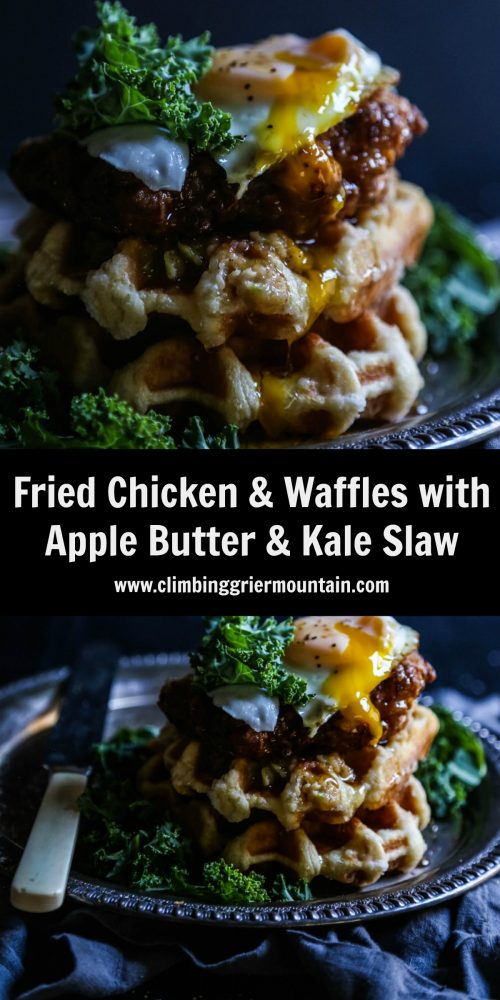 fried-chicken-and-waffles-with-apple-butter-kale-slaw