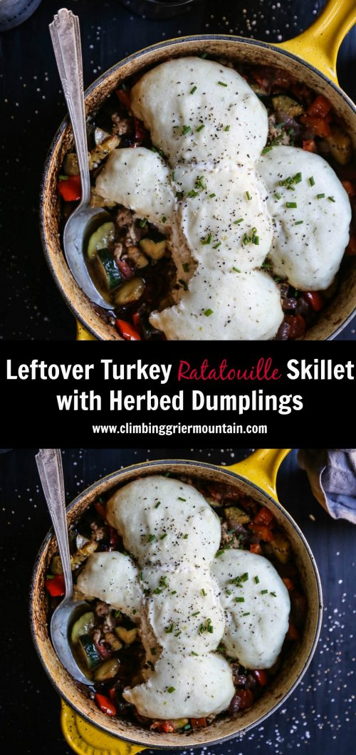 leftover-turkey-ratatouille-skillet-with-herbed-dumplings