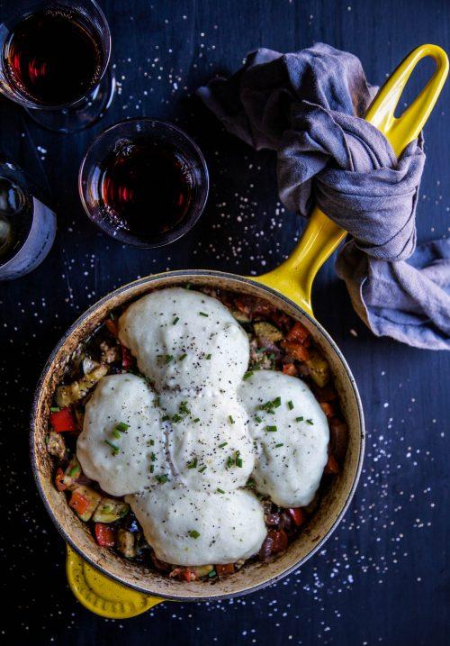 leftover-turkey-ratatouille-skillet-with-herbed-dumplings-www-climbinggriermountain-com