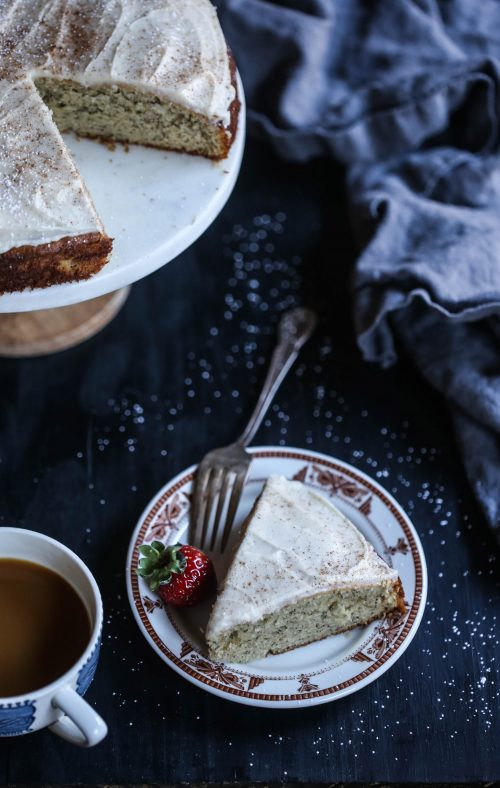 Banana Cake with Chai Vanilla Frosting www.climbinggriermountain.com I