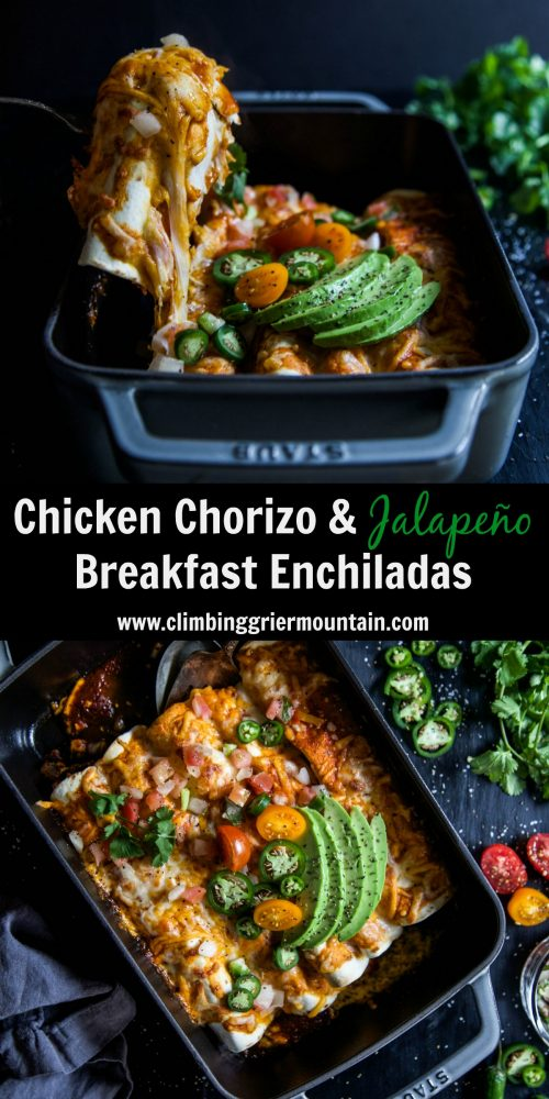 Chicken Chorizo & Jalapeño Breakfast Enchiladas