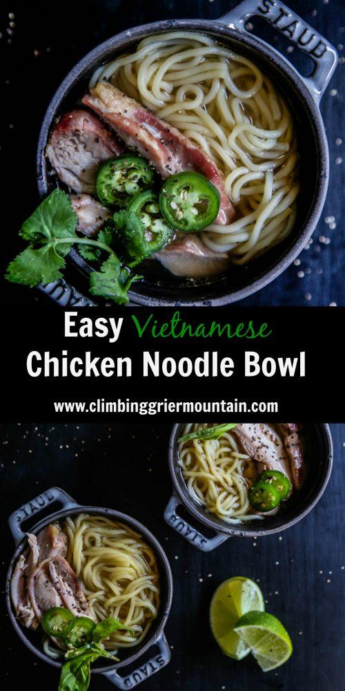 Easy Vietnamese Chicken Noodle Bowl