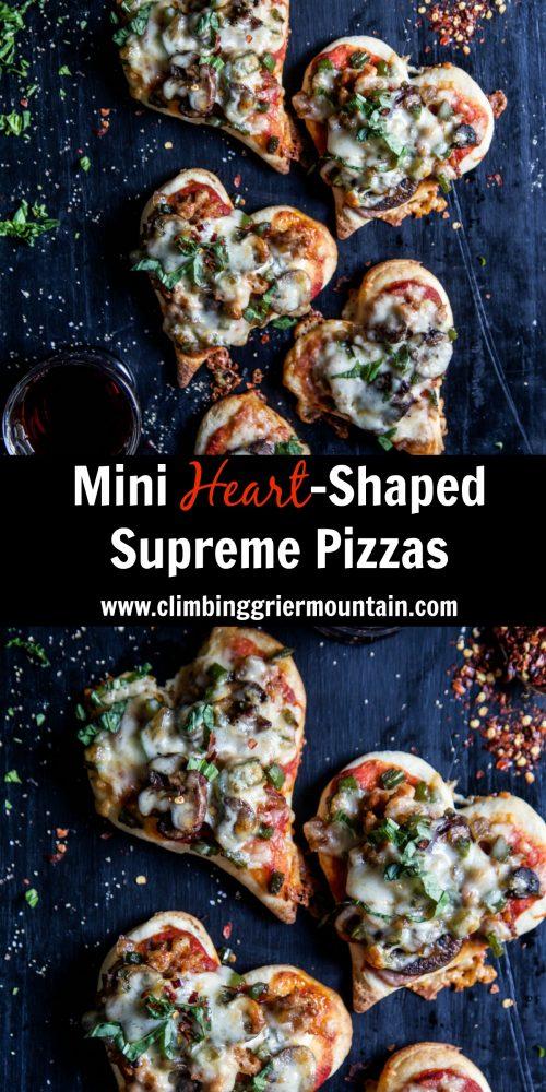 Mini Heart-Shaped Supreme Pizzas