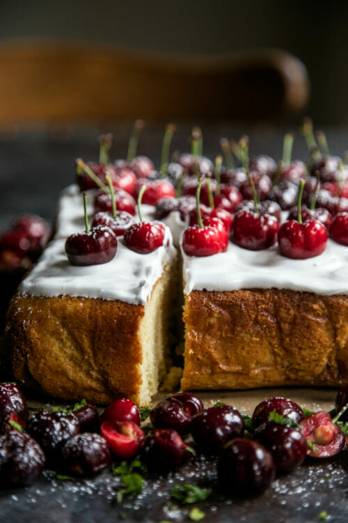 Cherry Party Cake with Bourbon Marshmallow Frosting Climbing Grier