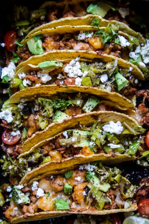 Al Pastor Baked Chicken Tacos with Shishito Pepper Salsa