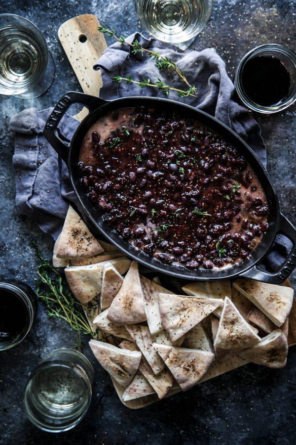 Raspberry Chipotle Black Bean Gratin