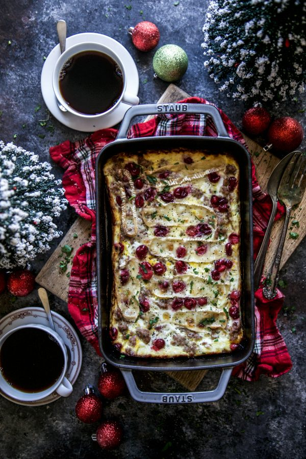 sausage and cranberry and brie egg casserole on a table