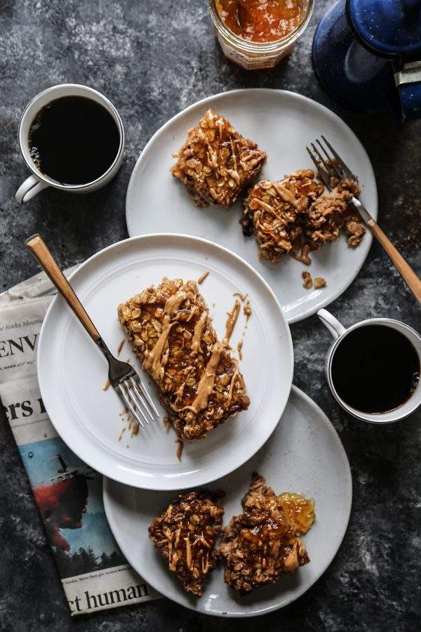 Peanut Butter & Orange Marmalade Oatmeal Bake