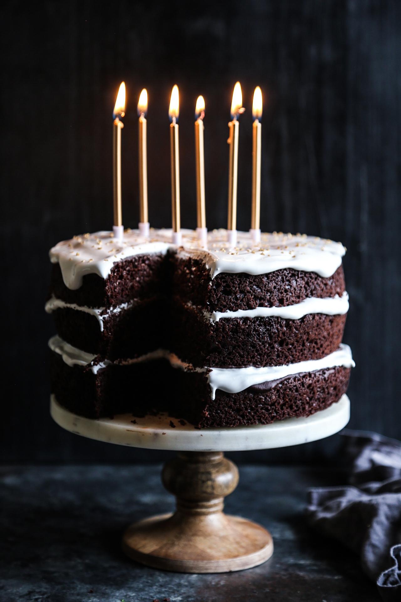 Groovy Ultimate Dark Chocolate Cake With Marshmallow Frosting Climbing Funny Birthday Cards Online Necthendildamsfinfo