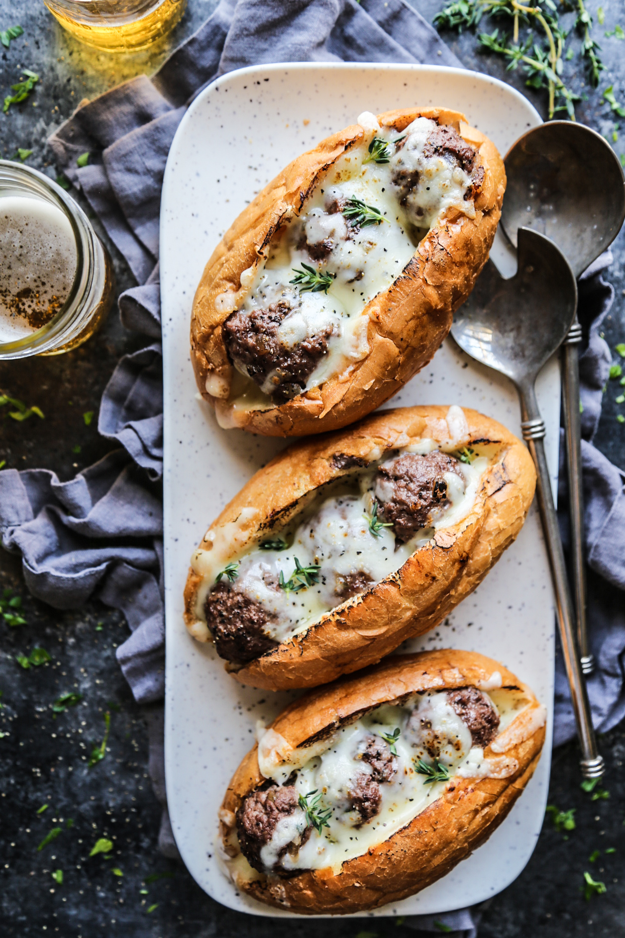 French Onion Meatball Subs