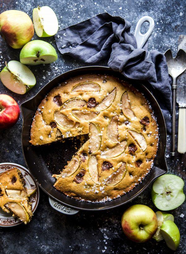 Salted Chocolate Chip Apple Skillet Cookie