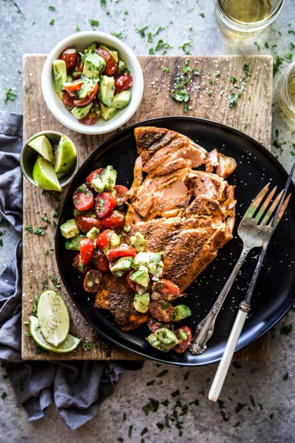 mumbai baked salmon with avocado salsa