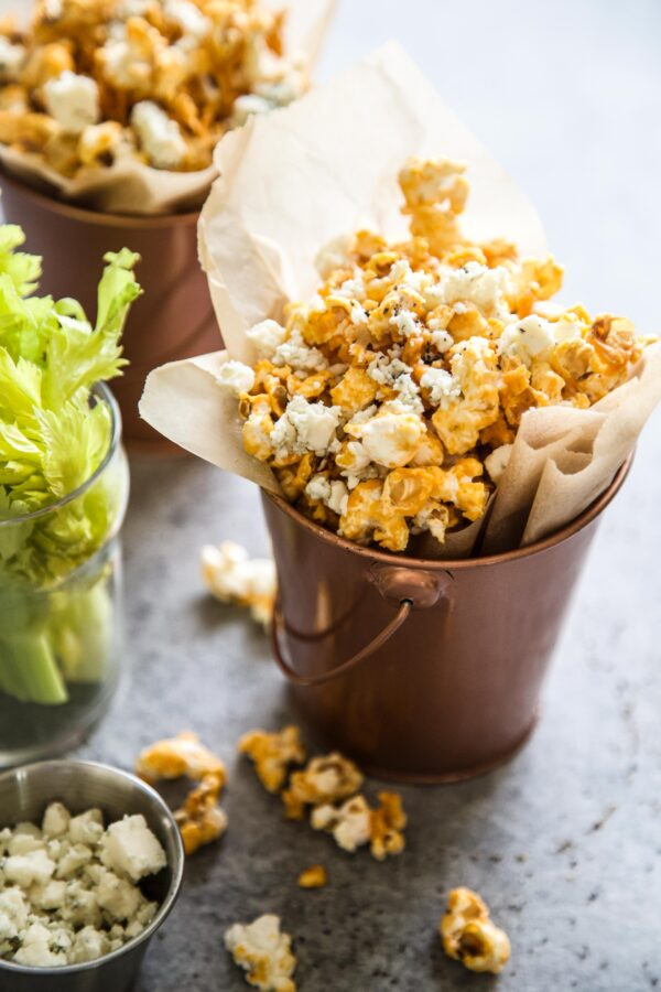 Buffalo Wing Popcorn on a table
