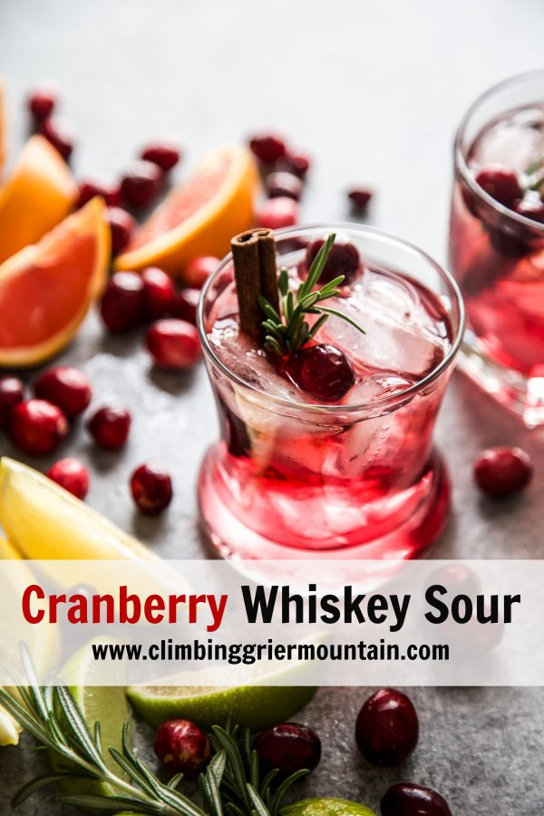Cranberry Whiskey Sour on a table