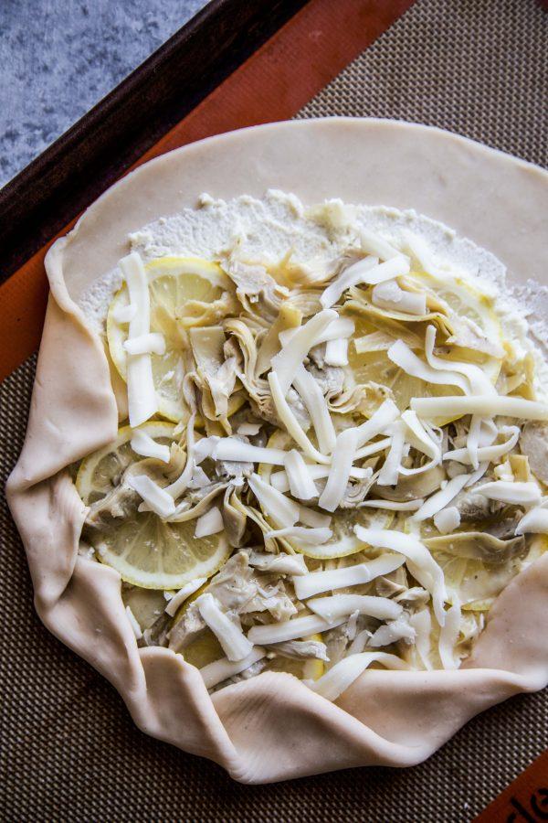 Lemon Feta and Artichoke Galette on a table