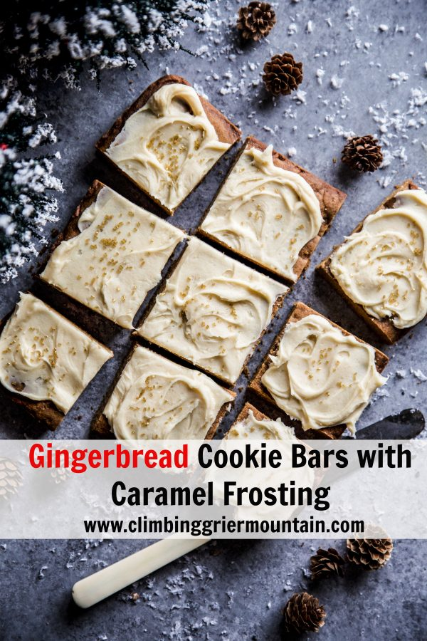 Gingerbread Cookie Bars with Caramel Frosting on a table