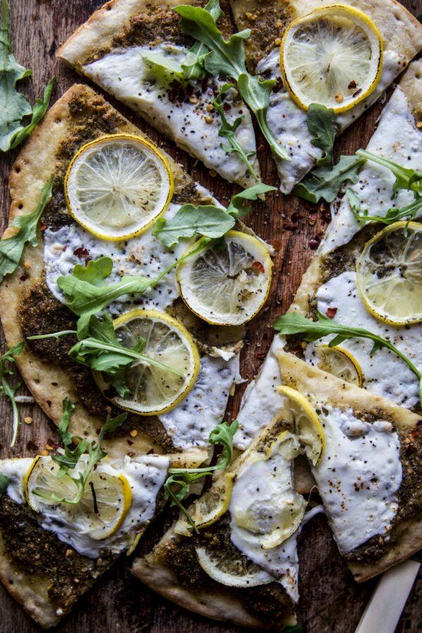 meyer lemon and arugula pizza
