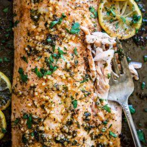 Baked Cajun Parmesan Salmon on a sheet pan