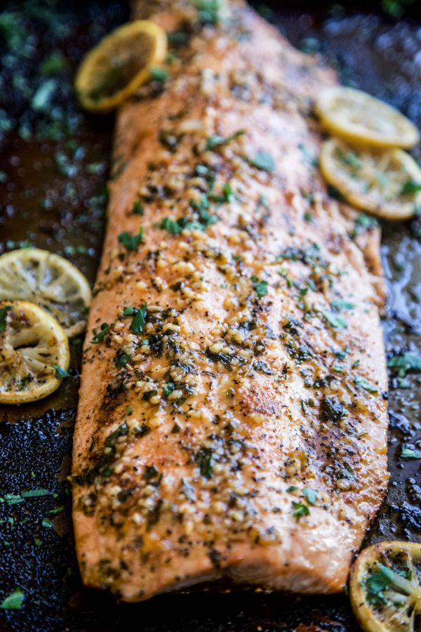 Baked Cajun Parmesan Salmon on a sheet pan