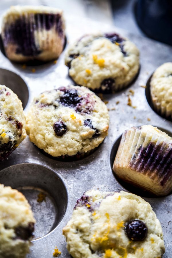 Double Blueberry Citrus-Topped Muffins on a table