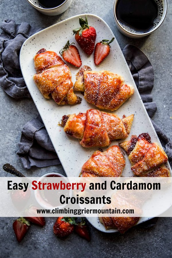 Easy Strawberry and Cardamom Croissants on a serving tray